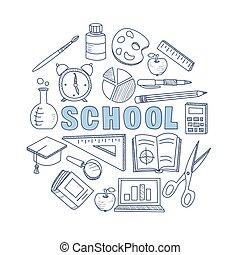 scuola, set., illustrazione, mano, vettore, disegnato