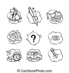 scuola, set, indietro, icone