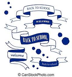 scuola, set, indietro, isolato, bianco, nastri, tesserati magnetici
