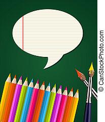 scuola, set, indietro, provviste, bolla, discorso