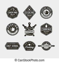 scuola, set, logos., vendemmia, cottura, illustrazione, culinario, vettore, retro, disegnato, emblems., classi