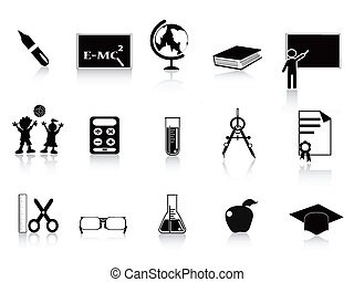 scuola, set, nero, icona