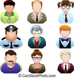 scuola, set, persone, icona