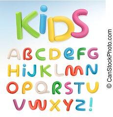 scuola, set, plastica, vettore, font., bambini, 3d