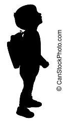 scuola, silhouette, indietro, capretto
