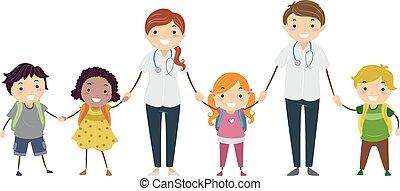 scuola, stickman, infermiere, illustrazione, bambini