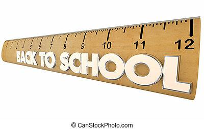 scuola, studenti, righello, indietro, illustrazione, cultura, educazione, 3d