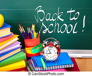 scuola, supplies., indietro
