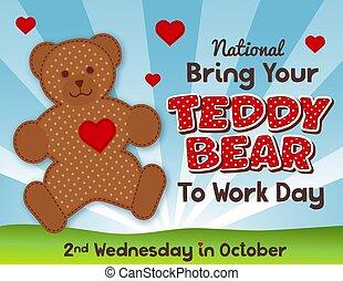 scuola, teddy, lavoro, orso, tuo, portare, giorno