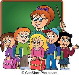 scuola, tema, classe
