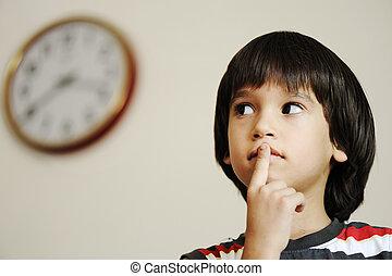scuola, time?, preparare, bambino, clock:, ora, prescolastico, capretto