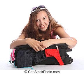 scuola, vacanza, imballaggio, adolescente, ragazza, felice