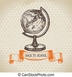 scuola, vendemmia, indietro, illustrazione, mano, vettore,...