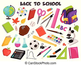 scuola, vettore, collezione, oggetti