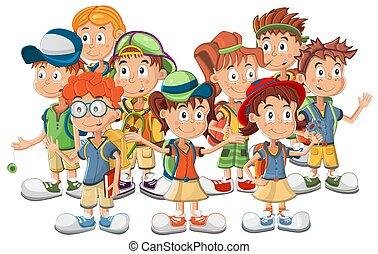 scuola, vettore, gruppo, bambini, illustrazione