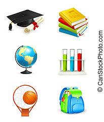 scuola, vettore, icone