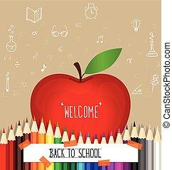 scuola, vettore, illustration., benvenuto, indietro, nota carta
