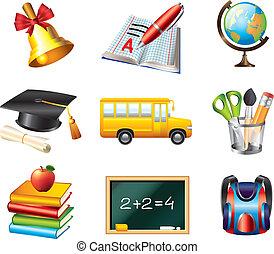 scuola, vettore, set, icone