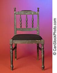 scuro, antiquato, sedia legno