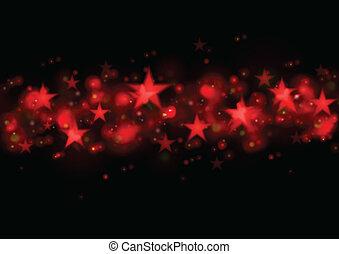 scuro, ardendo, stelle, illustrazione, rosso