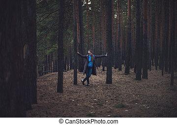 scuro, autunno, donna, foresta
