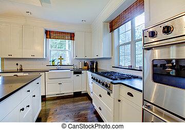 scuro, bianco, lusso, floors., cucina
