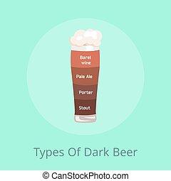 scuro, birra chiara, birra, tipi, vino, barile, pallido, facchino
