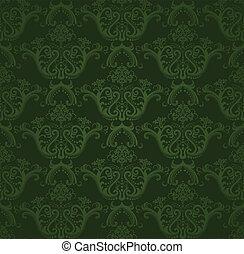 scuro, carta da parati, verde, floreale
