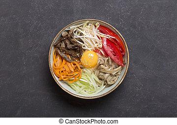scuro, centrale, verdura, tradizionale, fondo., asiatico, piatto, pietanza, riso, composizione, bibimbap