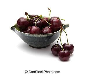 scuro, ciliegia, isolato, rosso