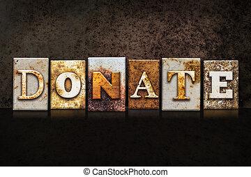 scuro, concetto, fondo, letterpress, donare