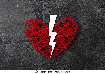 scuro, cuore, mezzo, fondo, rotto