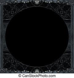 scuro, decorato, cornice, fondo