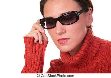 scuro, donna, giovane, occhiali