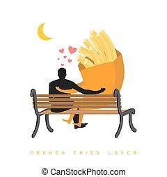 scuro, fastfood, romantico, notte, seduta, moon., persone, francese, mese, dall'aspetto, fries., illustrazione, bench., amante, data, sky., pasto, night., uomo