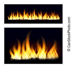 scuro, fiamme, fondo., infocato, illustrazione, bonfire., fuoco