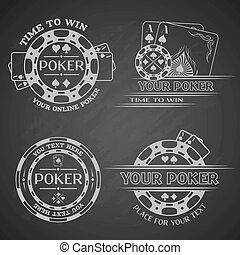scuro, fondo., poker, set, emblemi