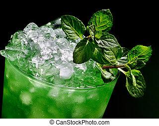 scuro, fondo., verde, cocktail