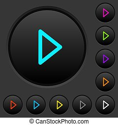scuro, gioco, icone, colorare, media, bottoni, spinta