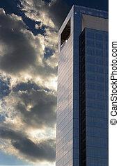 scuro, grattacielo, nuvola