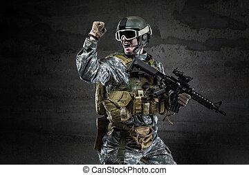 scuro, gridare, americano, fondo, soldato