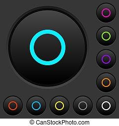 scuro, icone, colorare, media, bottoni, disco, spinta