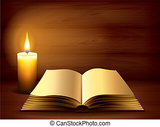 scuro, libro, antico, aperto, candela