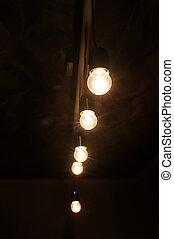 scuro, luci, lampada, stanza