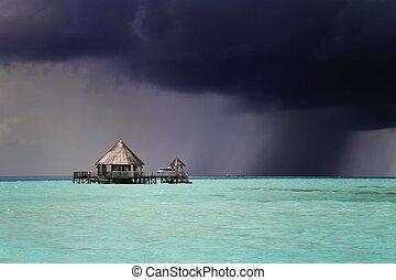 scuro, maldive, avvicinare, tempesta