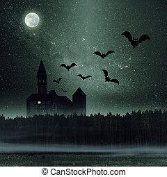 scuro, mistico, castello, foresta