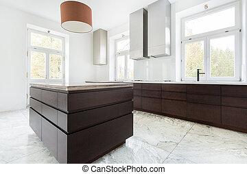 scuro, mobilia, moderno, cucina
