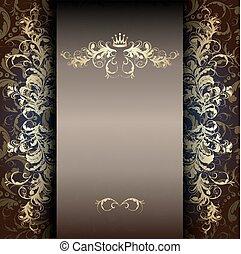 scuro, modello, oro, elegante