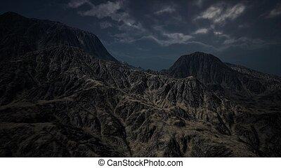 scuro, montagna, nubi