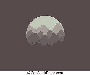 scuro, montagne, paesaggio, fondo, natura
